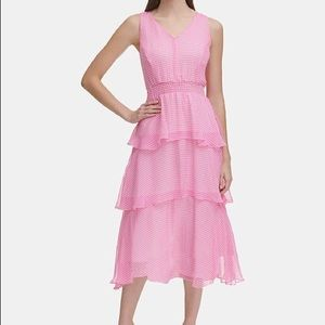 Tommy Hilfiger Pink Tiered Gingham A-line Dress